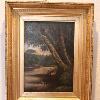 Vintage / Antique Oil Painting with corn detail frame - Fine Art
