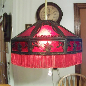 Budwieser ruby glass leaded shade - Lamps