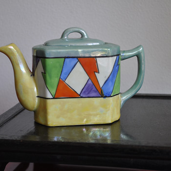 Deco Lustre Teapot with Diamond / Harlequin Motif - Art Deco