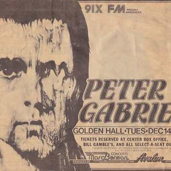 Peter Gabiel Concert Clippings Early 1980s - Music Memorabilia