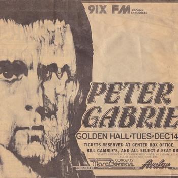 Peter Gabiel Concert Clippings Early 1980s - Music Memorabilia