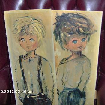 Vintage French Big Eyed Painting Boy&Girl