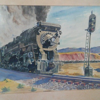 water color train signed howard fogg 1939 - Fine Art