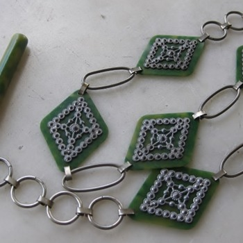 1920's-30's marbled green celluloid and silver belt - Costume Jewelry