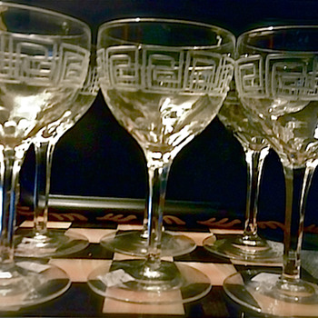 Etched Greek Key Crystal Wine Glasses