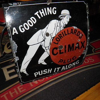 1890s climax plug porcelain sign - Signs