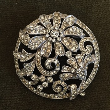 Old Trifari Rhinestone Art Nouveau inspired Design Brooch - Costume Jewelry