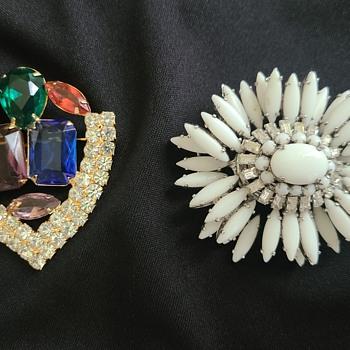 Schreiner and Rhinestone Brooch - Costume Jewelry