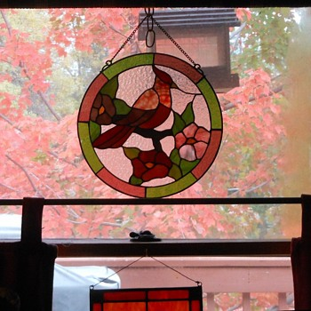 Stained Glass Hanging Piece with Cardinal - Art Glass