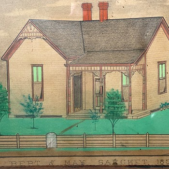 Folk Art Colored Drawing of a Home - Bert and May Sarchet - 1897 - Folk Art