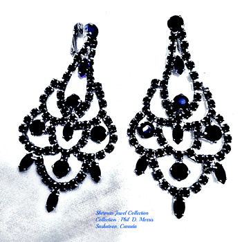 RARE LARGE BLACK OPAGUE SIGNED SHERMAN ART DECO EARRINGS - Costume Jewelry