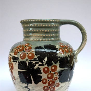 french  art nouveau pottery pitcher with vineyard pattern by LEON ELCHINGER - Art Nouveau