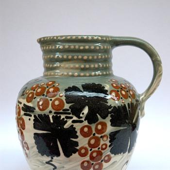 french  art nouveau pottery pitcher with vineyard pattern by LEON ELCHINGER - Art Nouveau