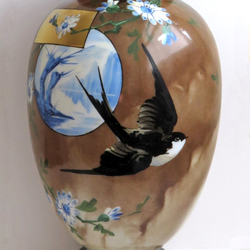Baccarat Japonisme Swallow Vase with Blue Willow Scene - Art Glass