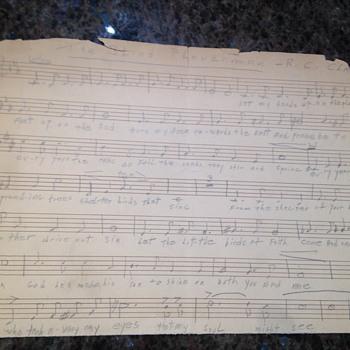 Handwritten 1913 The blind Ploughman by R.C.Clarke - Music Memorabilia