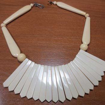 Bakelite Ivorine Necklace made from utensil handles - Costume Jewelry
