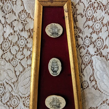 """Framed Scrimshaw.  Not sure if this is """"real"""" or purely for decorative purposes.  Would love some insight :)  - Folk Art"""