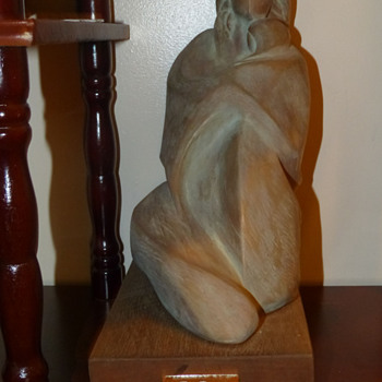 Mother and Child Wood Carving by G Rosi - Pottery