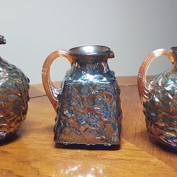 3 Small Pitchers - Art Glass