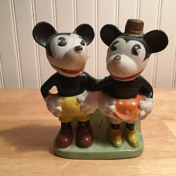 Mickey and Minnie Toothbrush Holder - 1934 - Figurines