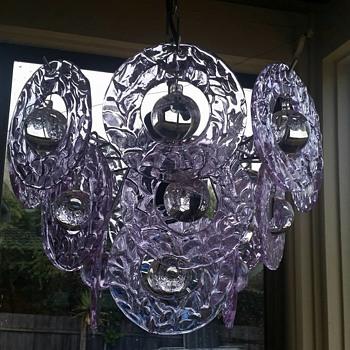 Vintage Gino Vistosi Murano Neodymium glass Chandelier - Art Glass