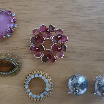 Brooch Additions and Wingback Earrings - Costume Jewelry