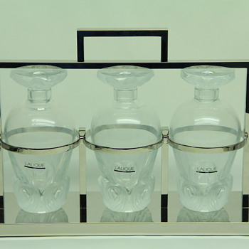 Lalique 3 Decanter Tantalus 1990, HAVE YOU SEEN ANOTHER? - Art Glass