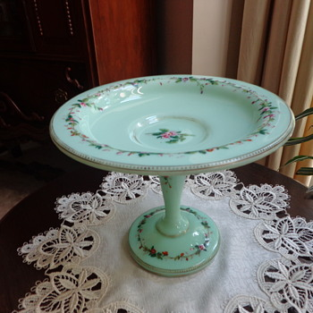 Vintage Compote (?), Green Glass, Hand Painted - Glassware