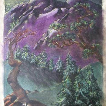 "Old Platt & Munk Co.; ""Mountain Scene"" Original Children's Book Art  - Fine Art"
