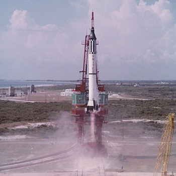 Vintage photos of rocket launches taken from original slides. - Photographs