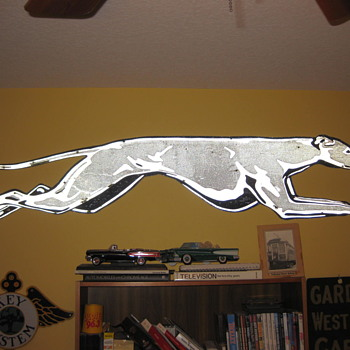 1950's Relfectorized Metal Greyhound Dog (7 feet long) - Signs