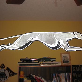 1950's Relfectorized Metal Greyhound Dog (7 feet long)