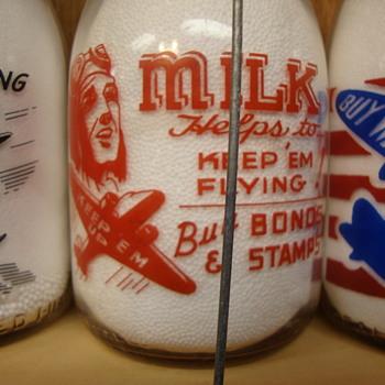 Unusual War Slogan Milk Bottles #5...... - Bottles