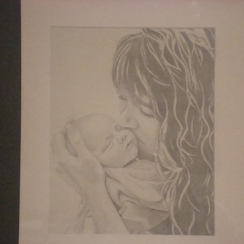 Mother and Child drawing - Fine Art