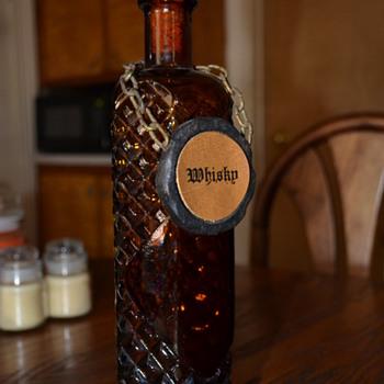 amber cut glass whisky bottle