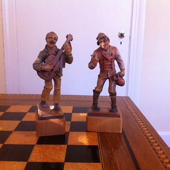 My favorite wood figures. 7in tall wood figures made in Italy aprox age is 50yrs  - Figurines