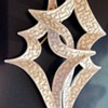 Trifari White Jagged Contemporary Abstract Pin/Brooch