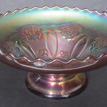 Dugan Carnival Glass Bowl - Double Stem Rose Pattern - Glassware