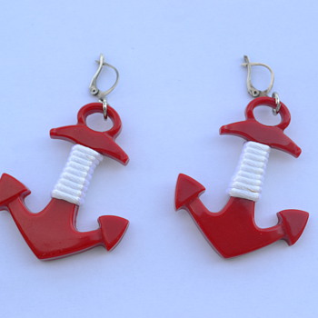 Vintage Anchor Earrings - 1960s? - Costume Jewelry