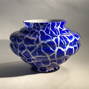 Kralik Blue Giraffe bowl/vase - Art Glass