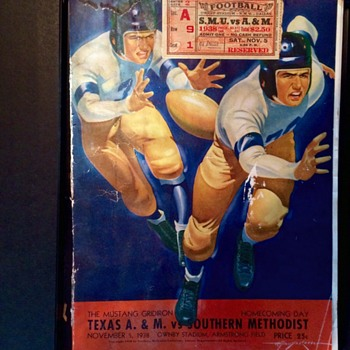Texas A&M vs. SMU 1938 Program and Ticket Stub - Football