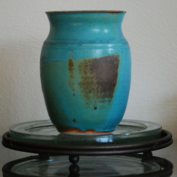 Vase with Blue Glaze  and Iron Rust - Pottery