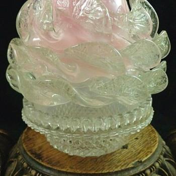 Victorian Clarke's Fairy Lamp with Peony Art Glass Shade - Art Glass