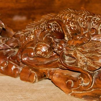 Vintage Wood Carved Dragon - Asian