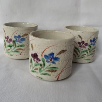 3 Rustic Japanese Ceramic Sake or Tea Cups Recent Vintage - Asian