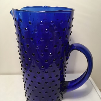Cobalt Blue Hobnail Pitcher - Glassware