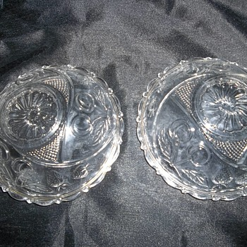 two small possibly eapg fruit pattern gold gilt bowls - Glassware