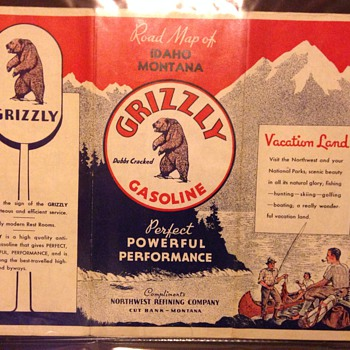 1940 Grizzly Gasoline Idaho Montana red letter sign road map