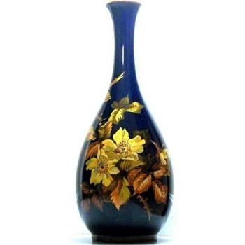 "18"" Cobalt/Floral Royal Doulton Lambeth Faience Vase Isabel Lewis, 1890-1907 - Pottery"
