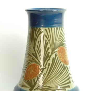 french art nouveau pottery vase by LEON ELCHINGER with pinecone pattern - Art Nouveau